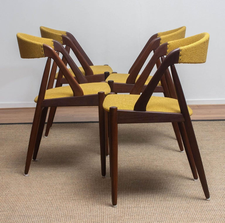 1960 Four Walnut Dining Chairs in Ochre Model 31 by Kai Kristiansen, Denmark 3