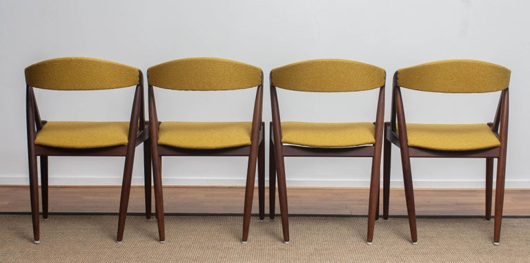 1960 Four Walnut Dining Chairs in Ochre Model 31 by Kai Kristiansen, Denmark 4