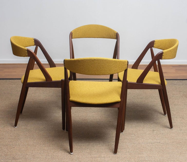 1960 Four Walnut Dining Chairs in Ochre Model 31 by Kai Kristiansen, Denmark 5
