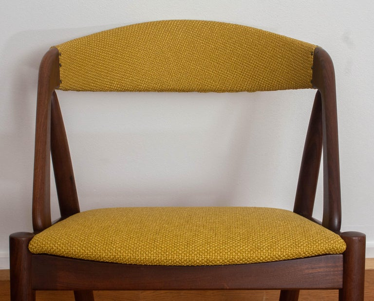 1960 Four Walnut Dining Chairs in Ochre Model 31 by Kai Kristiansen, Denmark 9