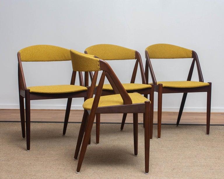 Scandinavian Modern 1960 Four Walnut Dining Chairs in Ochre Model 31 by Kai Kristiansen, Denmark