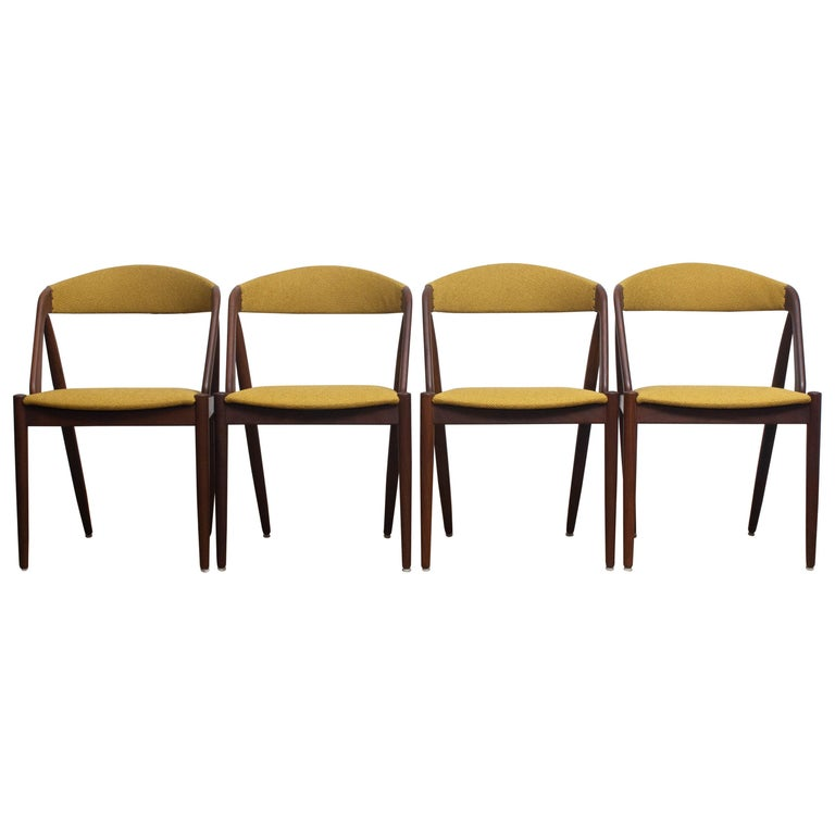 Danish 1960 Four Walnut Dining Chairs in Ochre Model 31 by Kai Kristiansen, Denmark