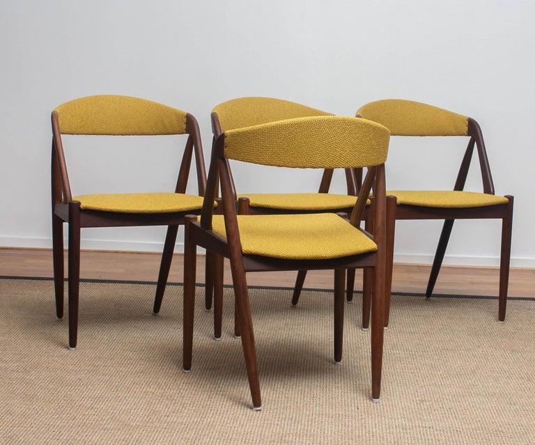 Mid-20th Century 1960 Four Walnut Dining Chairs in Ochre Model 31 by Kai Kristiansen, Denmark