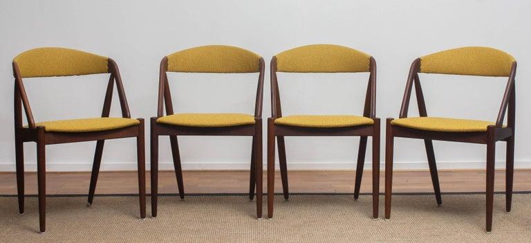 Fabric 1960 Four Walnut Dining Chairs in Ochre Model 31 by Kai Kristiansen, Denmark