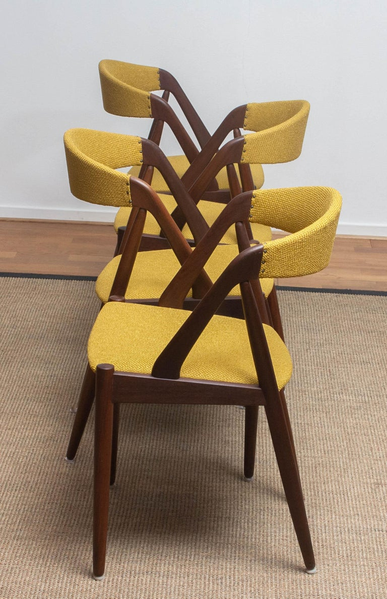 1960 Four Walnut Dining Chairs in Ochre Model 31 by Kai Kristiansen, Denmark 1