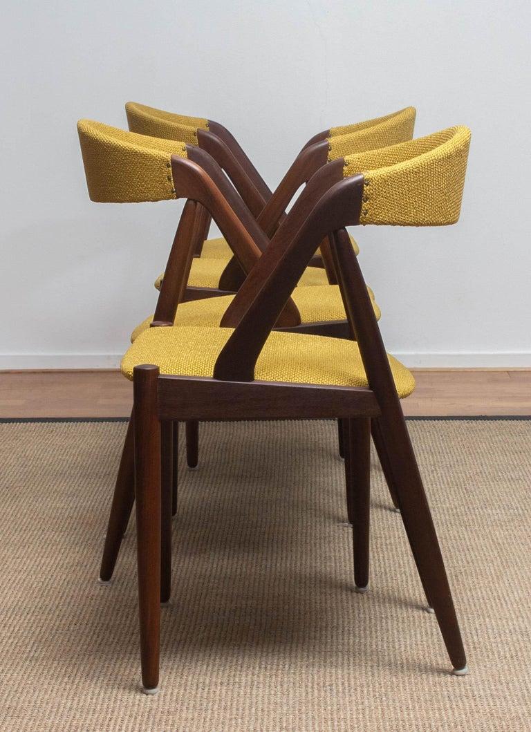 1960 Four Walnut Dining Chairs in Ochre Model 31 by Kai Kristiansen, Denmark 2