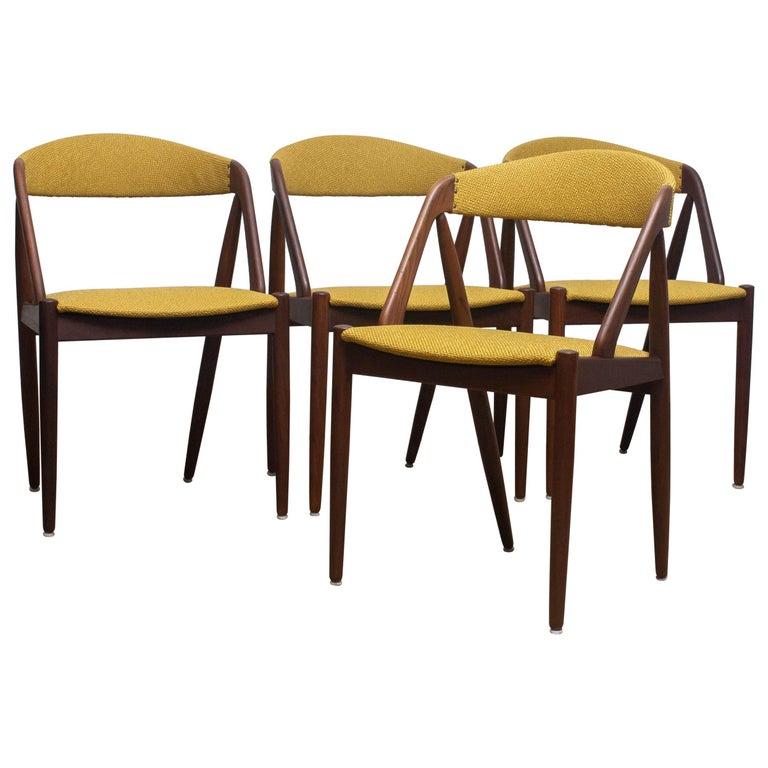 1960 Four Walnut Dining Chairs in Ochre Model 31 by Kai Kristiansen, Denmark