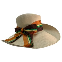 1960 Frank Olive Natural Straw Fedora Style Summer Hat W/Colorful Grosgrain Bow
