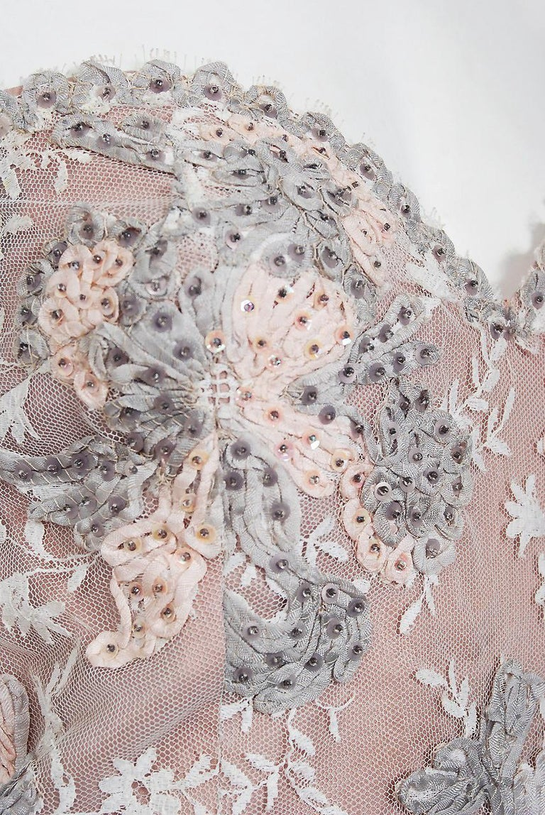 Vintage 1960's French Couture Pink Gray Embroidered Lace & Silk Strapless Gown In Excellent Condition For Sale In Beverly Hills, CA