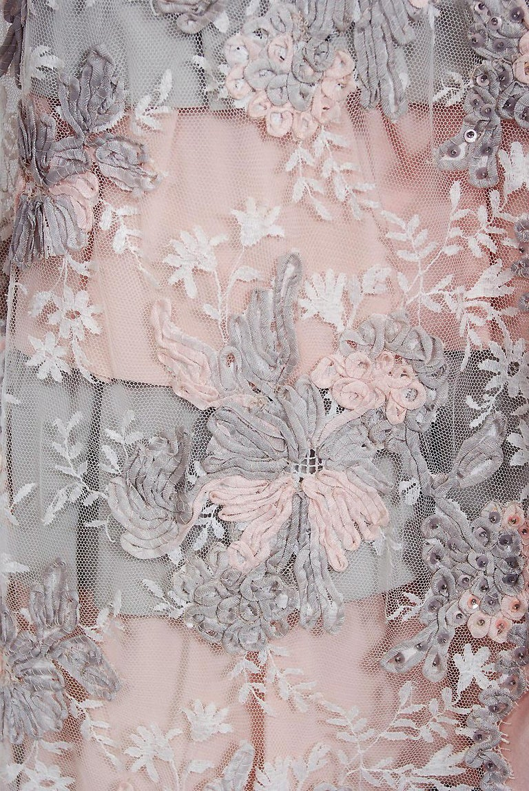 Women's Vintage 1960's French Couture Pink Gray Embroidered Lace & Silk Strapless Gown For Sale