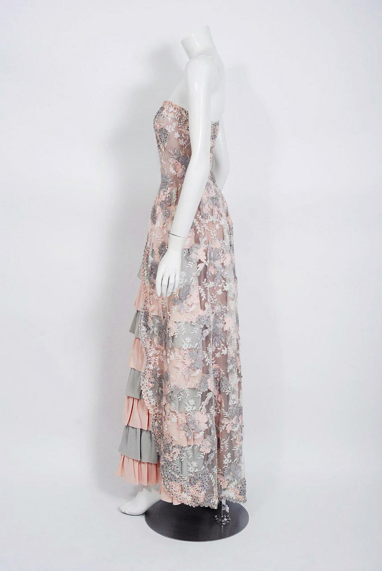 Vintage 1960's French Couture Pink Gray Embroidered Lace & Silk Strapless Gown For Sale 1