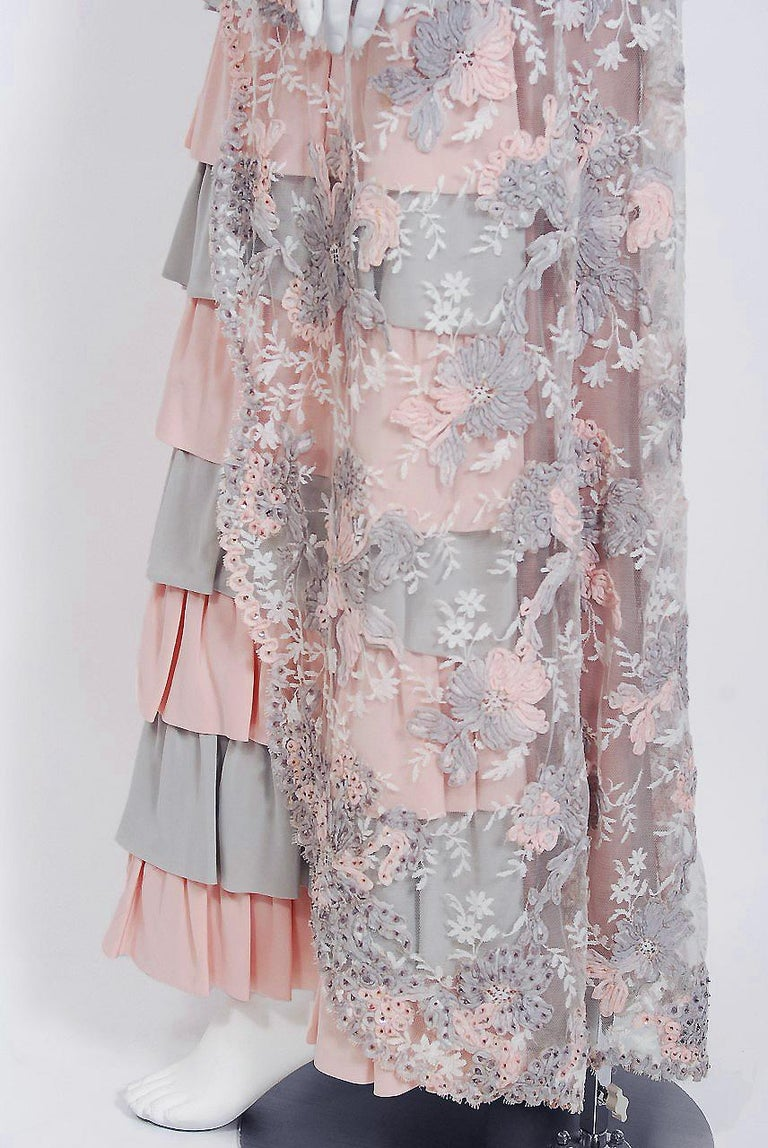 Vintage 1960's French Couture Pink Gray Embroidered Lace & Silk Strapless Gown For Sale 2