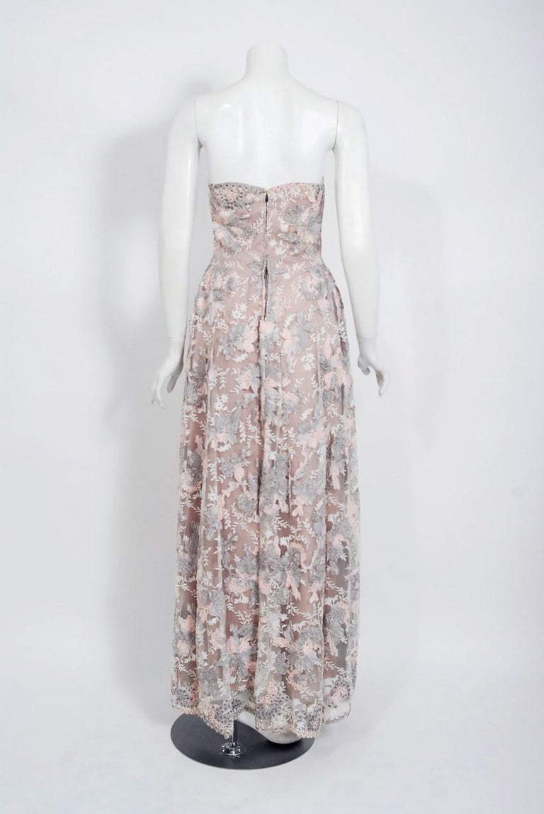 Vintage 1960's French Couture Pink Gray Embroidered Lace & Silk Strapless Gown For Sale 3