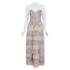 1960 French Couture Pale Pink Gray Embroidered Lace & Tiered Silk Strapless Gown