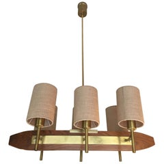 1960 French Wood and Brass Six-Light Chandelier