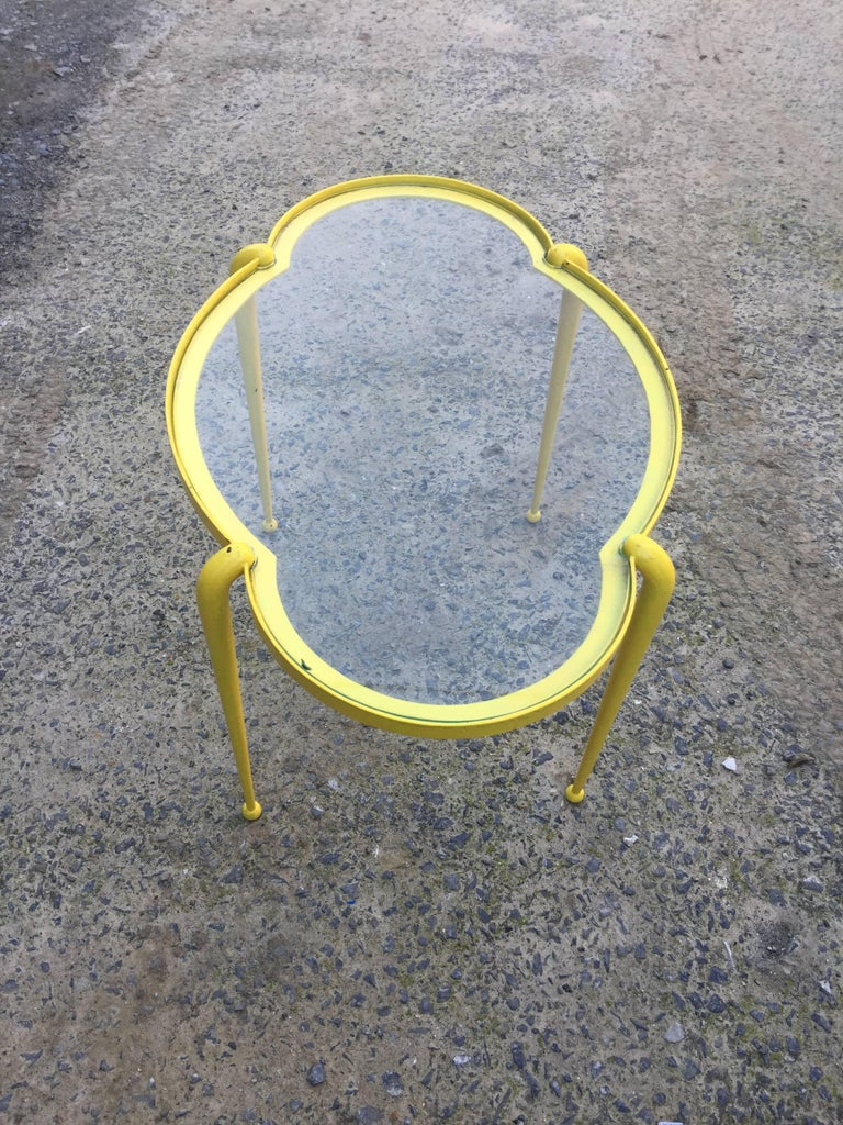 1960 French work, little side table in yellow lacquered metal.