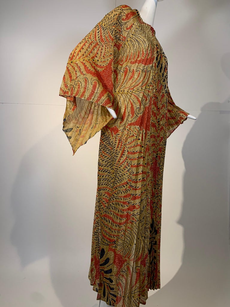 1960 Georgie Keyloun Pleated Gold Red & Black Lurex Print Caftan w/ Bell Sleeves For Sale 7