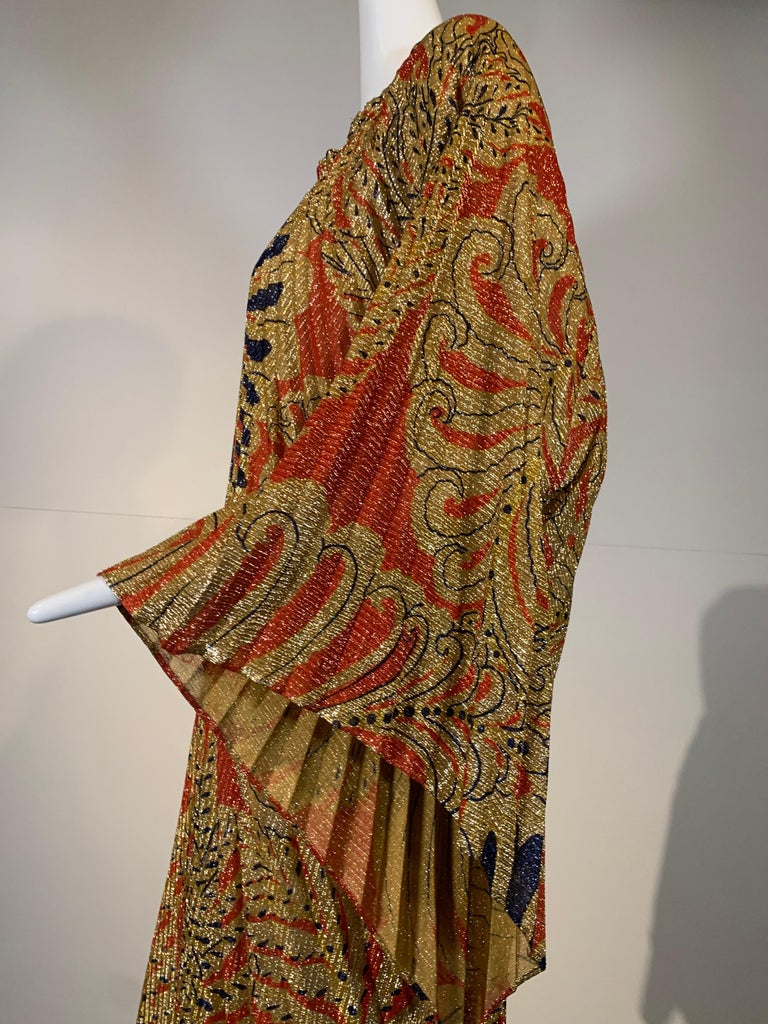 1960 Georgie Keyloun Pleated Gold Red & Black Lurex Print Caftan w/ Bell Sleeves For Sale 10