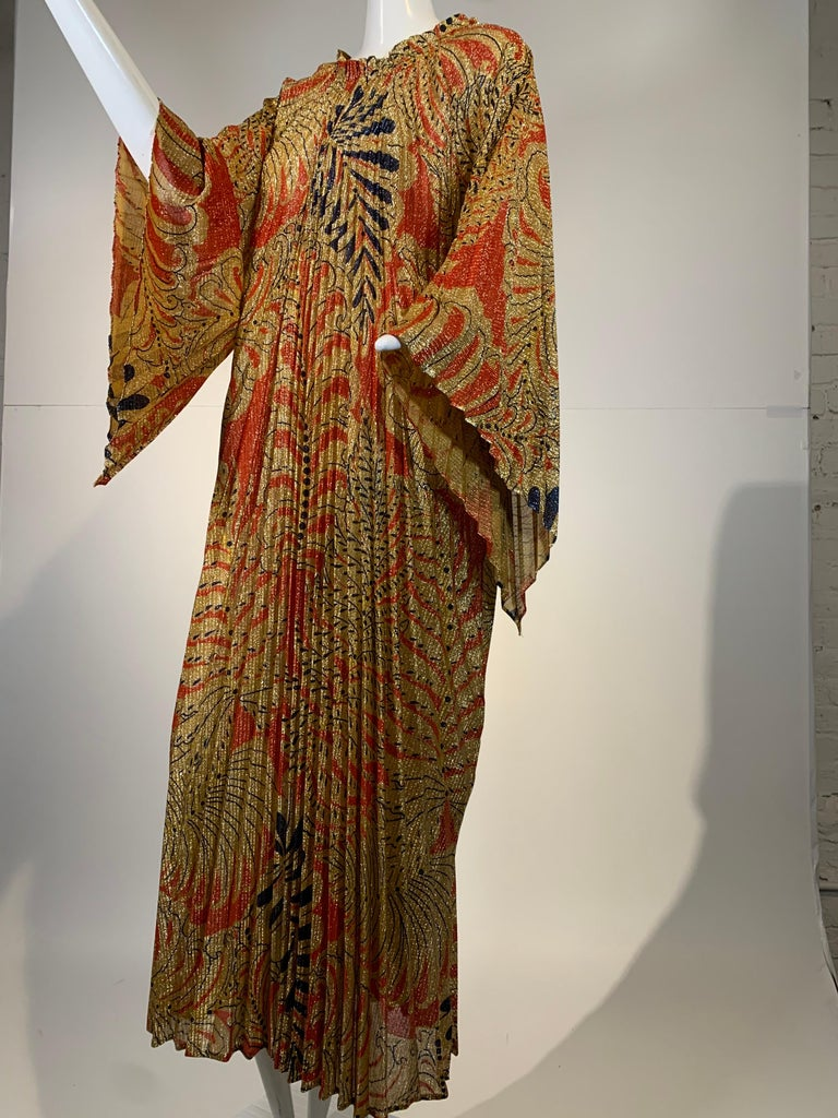 1960 Georgie Keyloun pleated gold, red and black Lurex knit, palm leaf/fern print caftan with bell sleeves. Size XL.