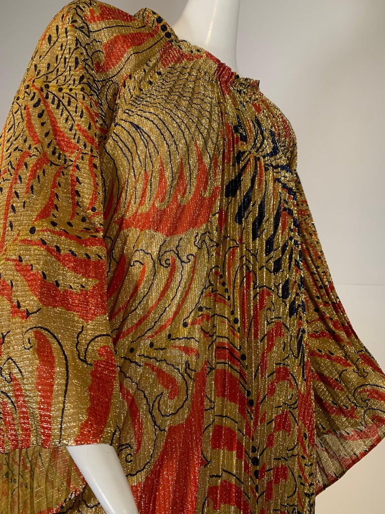 Brown 1960 Georgie Keyloun Pleated Gold Red & Black Lurex Print Caftan w/ Bell Sleeves For Sale