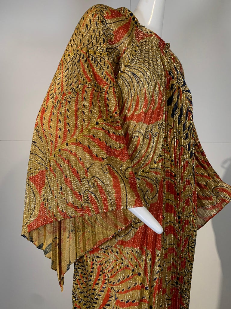 Women's 1960 Georgie Keyloun Pleated Gold Red & Black Lurex Print Caftan w/ Bell Sleeves For Sale