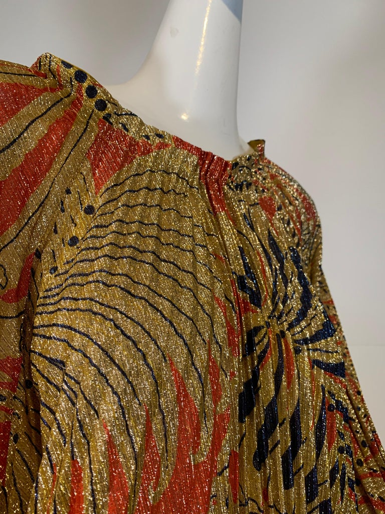 1960 Georgie Keyloun Pleated Gold Red & Black Lurex Print Caftan w/ Bell Sleeves For Sale 1