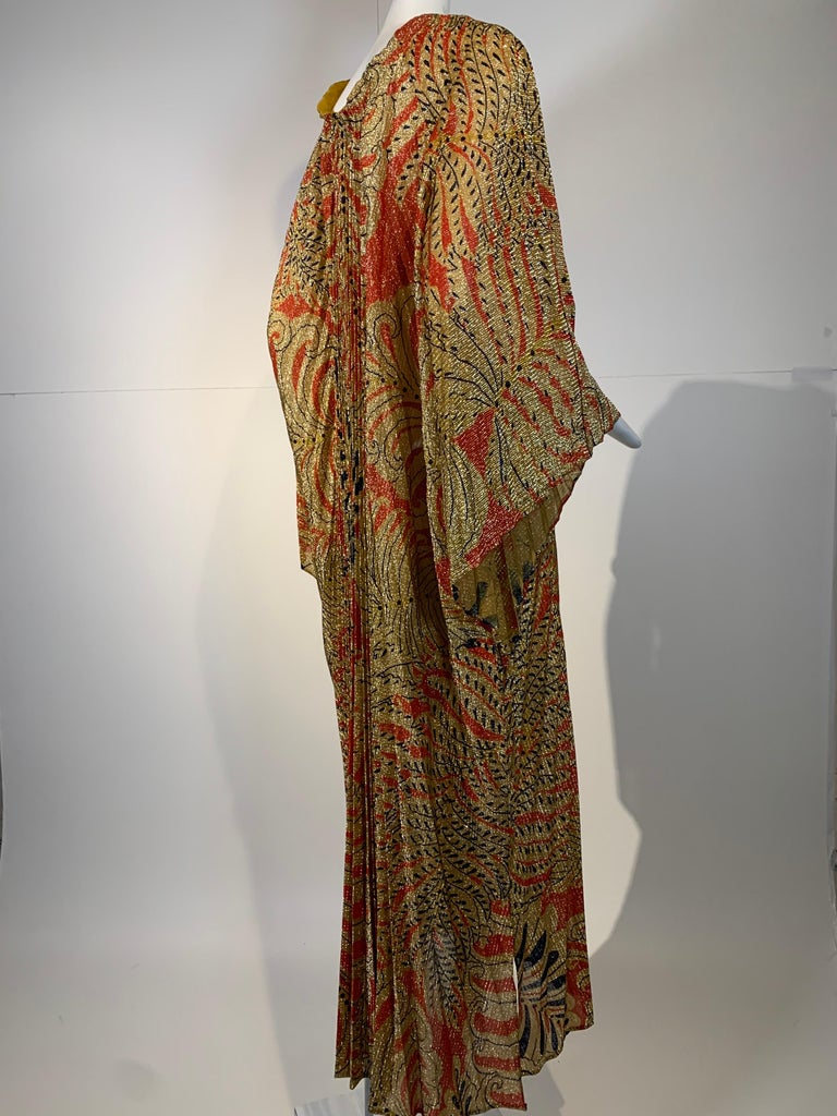 1960 Georgie Keyloun Pleated Gold Red & Black Lurex Print Caftan w/ Bell Sleeves For Sale 2