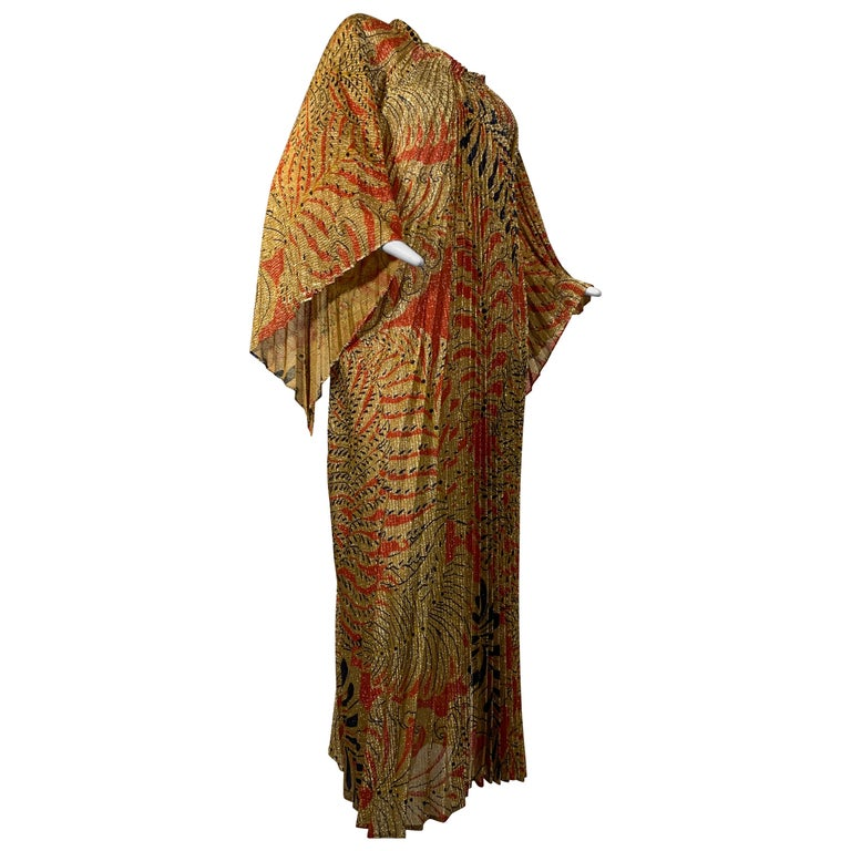 1960 Georgie Keyloun Pleated Gold Red & Black Lurex Print Caftan w/ Bell Sleeves For Sale