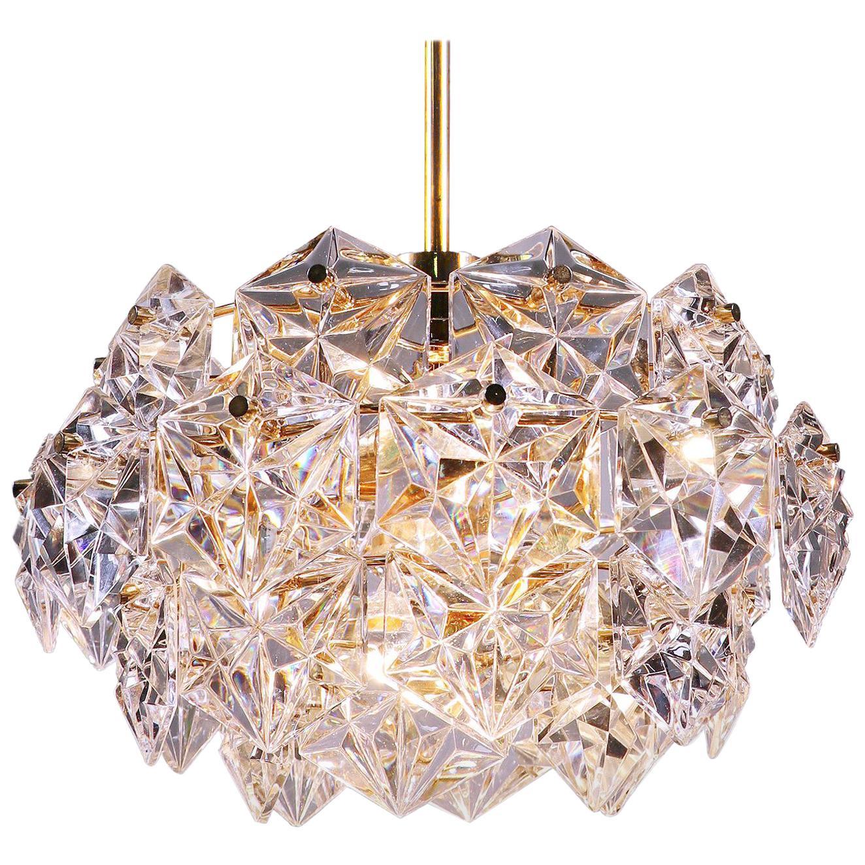 1960 Germany Kinkeldey Gold-Plated Crystal Chandelier