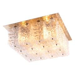 1960 Germany Limburg Large Square Flushmount Ceiling Light Glass and Brass