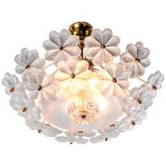 1960 Germany Ernst Palme Floral Flush Mount Chandelier Glass & Brass