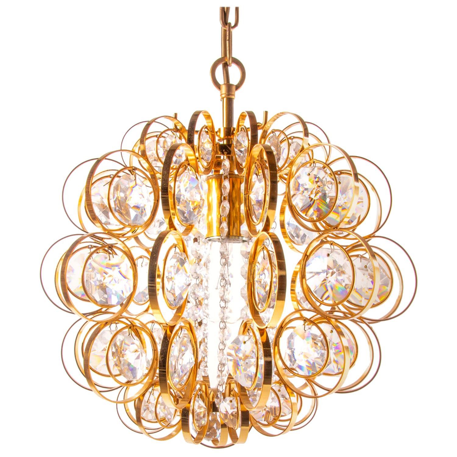 1960 Germany Palwa Orbit Chandelier Crystal & Gilt Brass by Gaetano Sciolari
