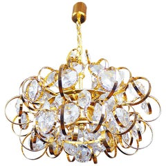 1960 Germany Palwa Sputnik Chandelier Crystal & Gilt Brass by Gaetano Sciolari