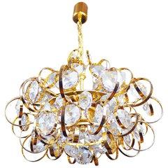 1960 Germany Palwa Sputnik Chandelier Crystal & Gilt Brass by Gaetano Sciolari