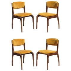 1960 Gianfranco Frattini for Cantieri Carugati Italian Design Chairs, Set of 4