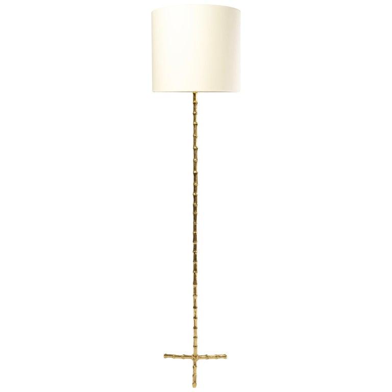 """1960 Gilt Bronze """"bamboo"""" Model Floor Lamp Maison Baguès For Sale"""