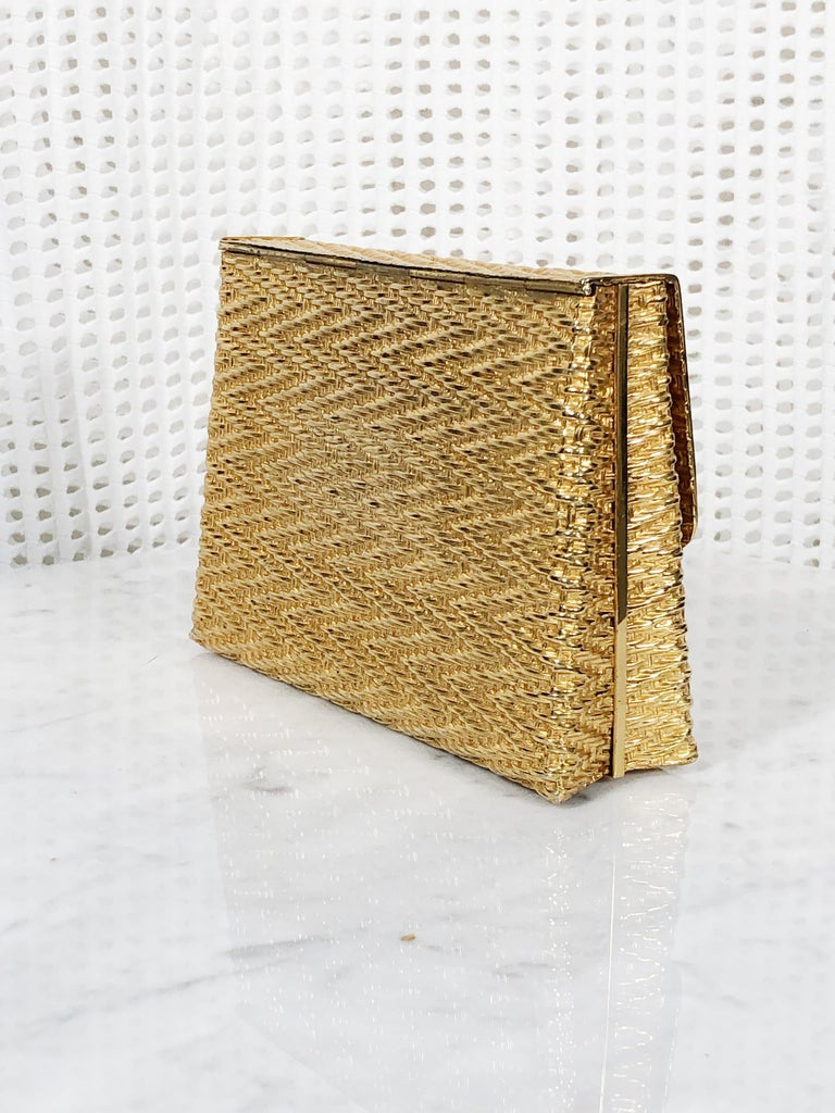 Brown 1960 Gold Metal Basket Weave Textured Evening Box Clutch w/ Mirror For Sale