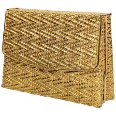 1960 Gold Metal Basket Weave Textured Evening Box Clutch w/ Mirror
