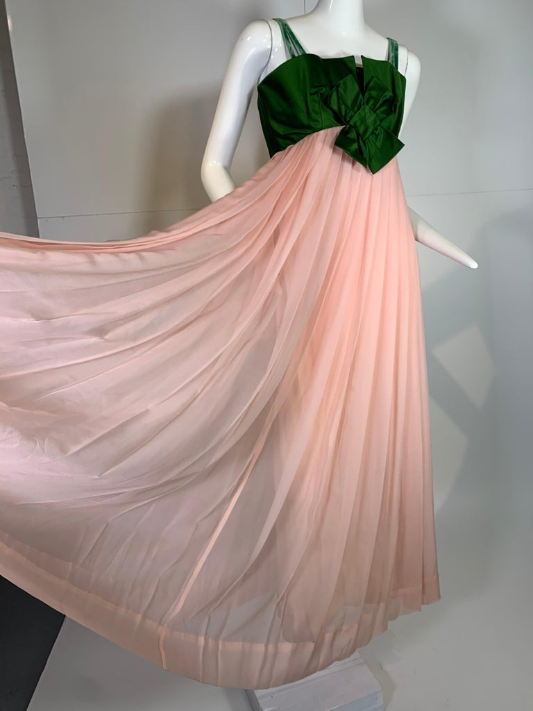 1960 Harold Levine Olive Silk Satin & Peach Silk Chiffon Empire Corset Gown For Sale 6