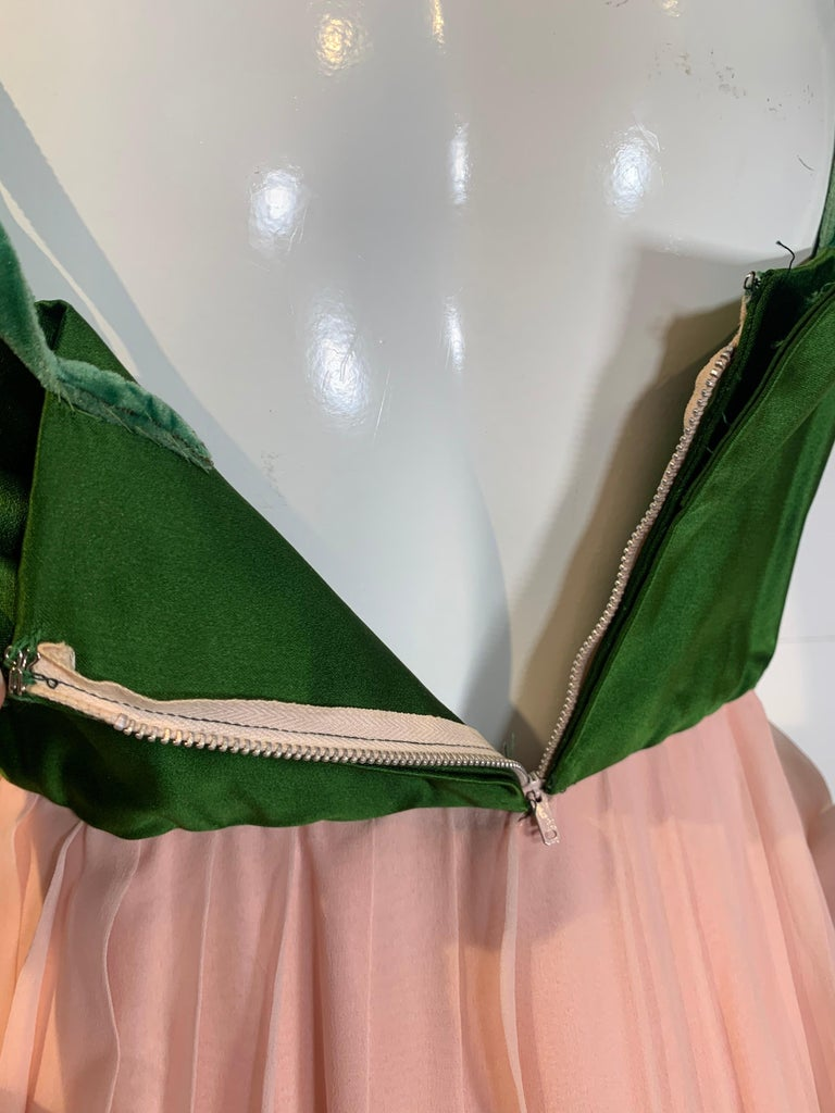 1960 Harold Levine Olive Silk Satin & Peach Silk Chiffon Empire Corset Gown For Sale 9