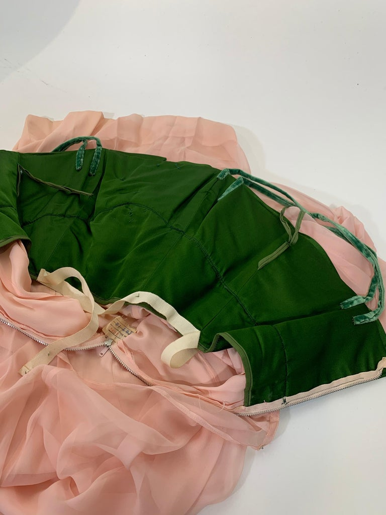 1960 Harold Levine Olive Silk Satin & Peach Silk Chiffon Empire Corset Gown For Sale 10