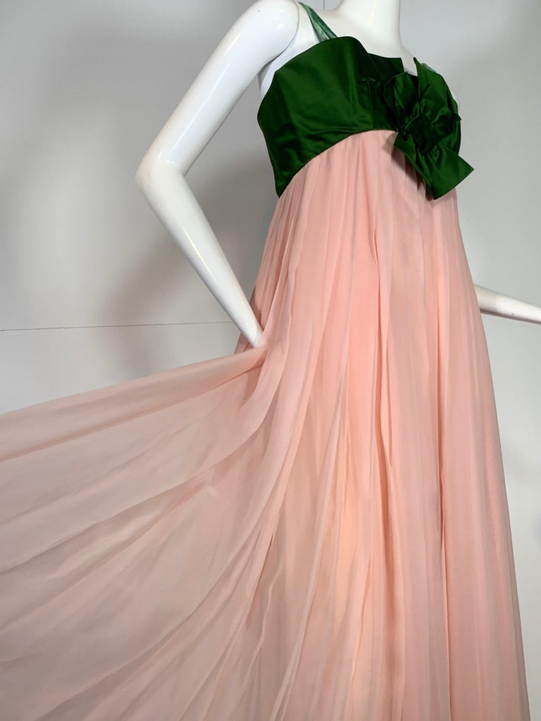 Brown 1960 Harold Levine Olive Silk Satin & Peach Silk Chiffon Empire Corset Gown For Sale