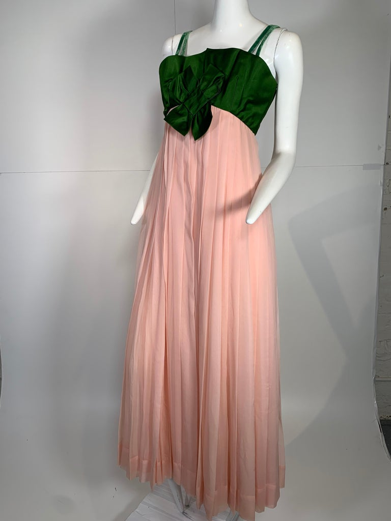 1960 Harold Levine Olive Silk Satin & Peach Silk Chiffon Empire Corset Gown In Excellent Condition For Sale In San Francisco, CA