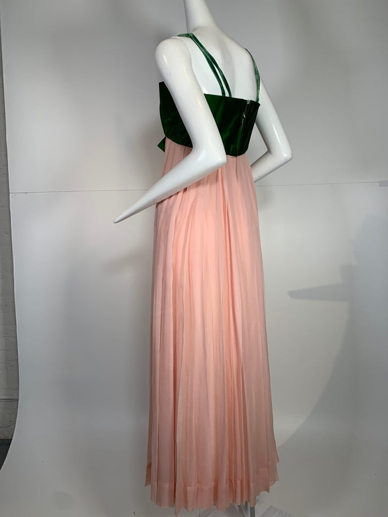 Women's 1960 Harold Levine Olive Silk Satin & Peach Silk Chiffon Empire Corset Gown For Sale