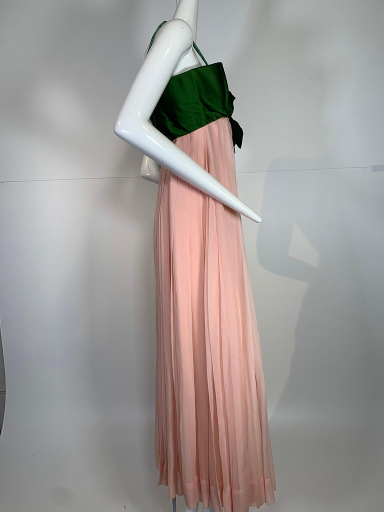 1960 Harold Levine Olive Silk Satin & Peach Silk Chiffon Empire Corset Gown For Sale 1
