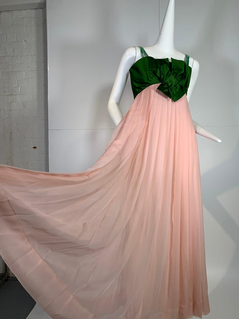 1960 Harold Levine Olive Silk Satin & Peach Silk Chiffon Empire Corset Gown For Sale 3