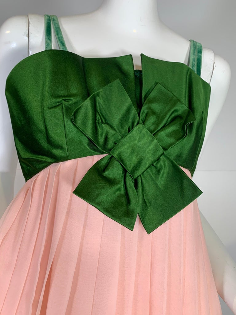 1960 Harold Levine Olive Silk Satin & Peach Silk Chiffon Empire Corset Gown For Sale 4