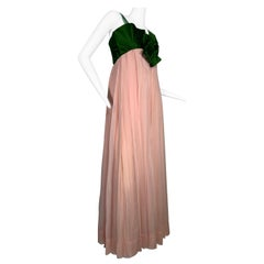 1960 Harold Levine Olive Silk Satin & Peach Silk Chiffon Empire Corset Gown