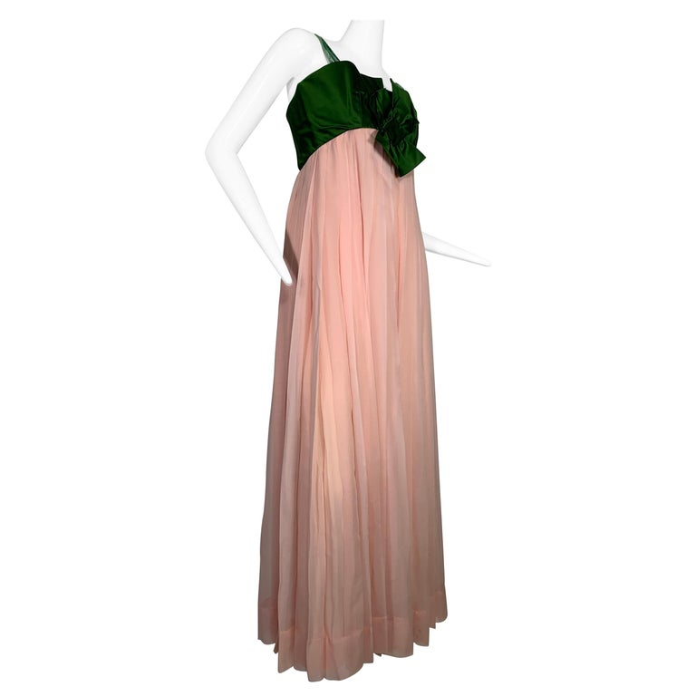 1960 Harold Levine Olive Silk Satin & Peach Silk Chiffon Empire Corset Gown For Sale