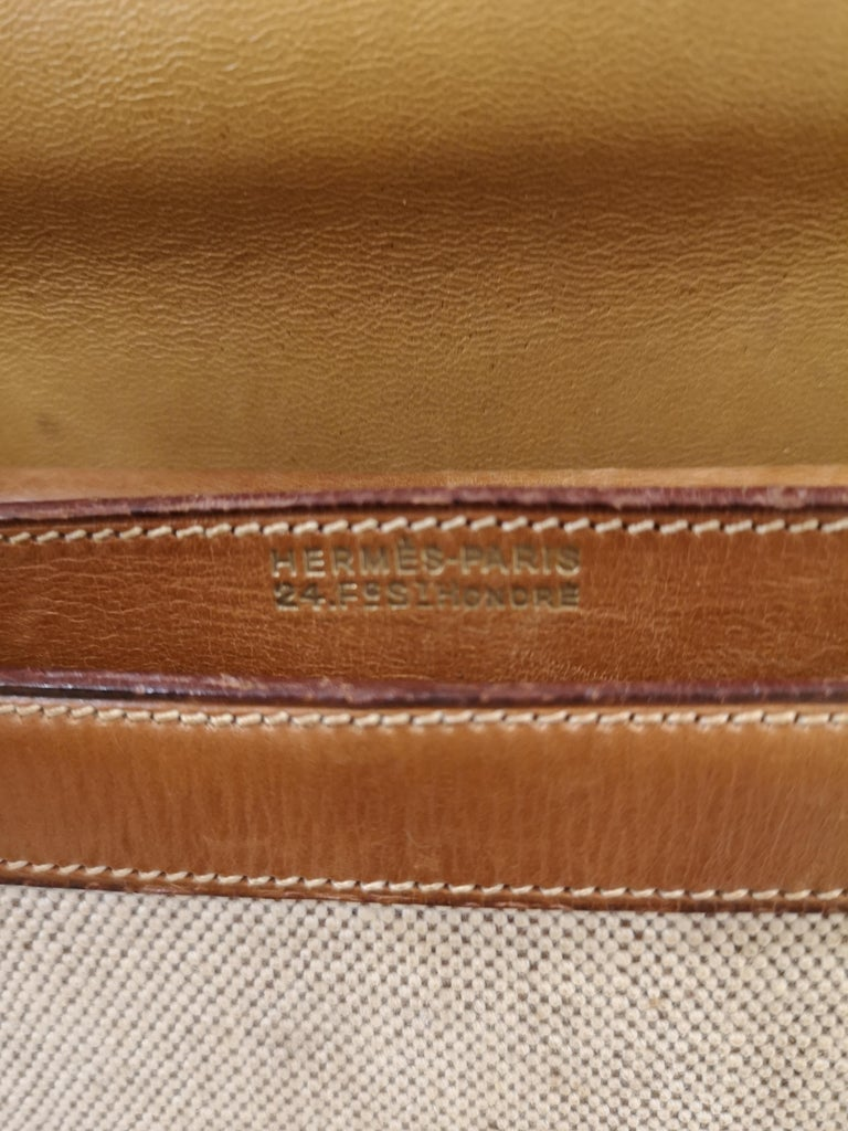 1960 Hermes leather and textile Handle Bag  For Sale 5